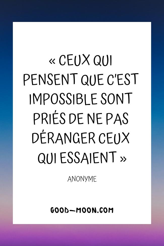 Pensée Positive - Ceux qui pensent que c'est impossible sont priés de ne pas déranger ceux qui essaient
